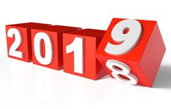 Cubes with Red New Year 2019 and past Year 2018 stock images
