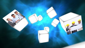 Cubes rolling in the air with business videos stock footage