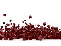 Cubes rouges d'isolement sur le fond blanc Image stock