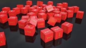 Cubes rouges et comme le texte Photo stock