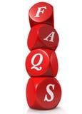 Cubes rouges illustrant des FAQ Images stock