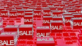 Cubes with sale message in red stock footage