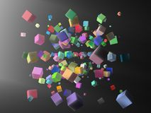 CUBES. Semi transparent cubes  in the dark Royalty Free Stock Image