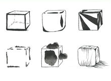 Cubes set. Set of six hand-drawn stylized cubes drawn by black ink on white paper Vector Illustration