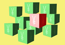 Cubes with a sign of Japanese yen on a yellow background Stock Images