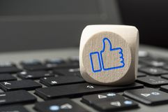 Cubes with social media marketing i like it stock images