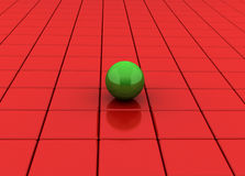 Cubes and Sphere. Green sphere stand on a group of red shiny Cubes Stock Photo
