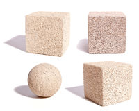 Cubes and Sphere of Stone Texture Stock Photo
