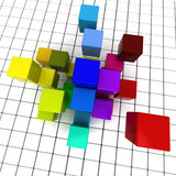 Cubes and squares. 3D rendering of a geometric cubic background Royalty Free Stock Images