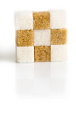 Cubes of sugar cane brown and white refined Royalty Free Stock Photography
