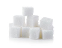 Cubes of sugar on white background Stock Photography