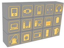 Cubes with symbols of household electronic equipment vector illustration