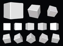 cubes tournant le blanc de vecteur Photos libres de droits