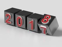 2018 cubes tournant le changement d'année Photos stock