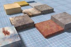 Cubes tridimensionnels sur le plancher carrelé vitré Photos stock