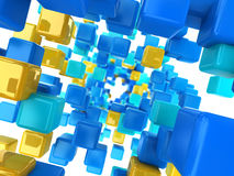 Cubes tunnel. Abstract 3d illustration of colorful cubes tunnel background Royalty Free Stock Photos