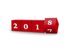 Cubes turning 2018. Illustration of Cubes turning to year 2018 Royalty Free Stock Image