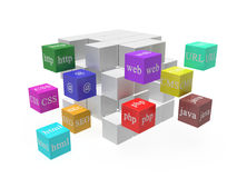 Cubes with web words stock illustration