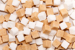Cubes of white and brown sugar Stock Photos