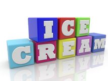 Cubes in white with ice cream concept stock illustration