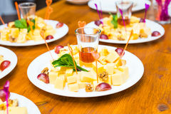 Cubes of yellow cheese Royalty Free Stock Image