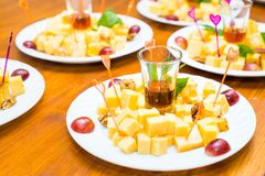 Cubes of yellow cheese Royalty Free Stock Photo