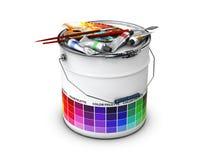 Cubeta abstrata com grupo do guia e do desenho da paleta colorida, ilustração 3d Imagens de Stock Royalty Free