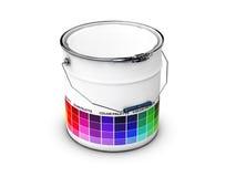 Cubeta abstrata com guia da paleta colorida, ilustração 3d Imagens de Stock