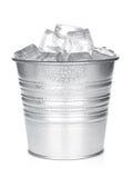 Cubeta com cubos de gelo Imagem de Stock