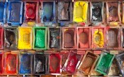 Cubeta con la acuarela Imagen de archivo libre de regalías