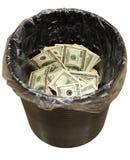 Cubeta, dólares, três Imagens de Stock Royalty Free