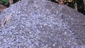 Cubeta da colher da máquina escavadora as rochas video estoque