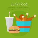 Cubeta da galinha do almoço, hamburguer e takeaway da soda Fast food sucata ilustração royalty free