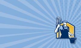 Cubeta de Cleaner Holding Mop do guarda de serviço retro ilustração royalty free