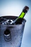 Cubeta de gelo com champanhe e gelo frios Imagem de Stock