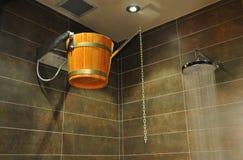 Cubeta de madeira no chuveiro Imagem de Stock Royalty Free