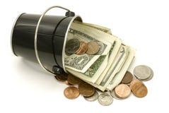 Cubeta do dinheiro Imagens de Stock