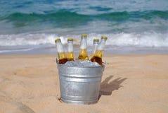 Cubeta do gelo - cerveja fria na praia Imagens de Stock