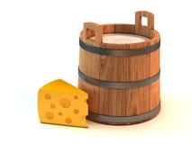 Cubeta do leite e uma parte de queijo ilustração do vetor