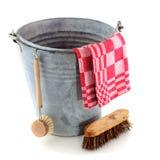 Cubeta do zinco com escova de limpeza Fotografia de Stock