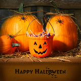 Cubeta enchida com os doces de Halloween Fotografia de Stock Royalty Free