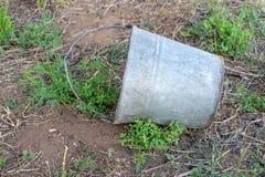 Cubeta oxidada velha do ferro na grama do jardim O conceito da crise financeira e da pobreza imagens de stock