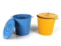 cubeta plástica azul e amarela de 3d Imagens de Stock Royalty Free