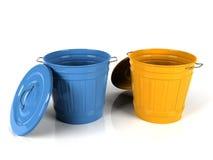 cubeta plástica azul e amarela de 3d Imagem de Stock Royalty Free