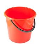 Cubeta plástica vermelha fotografia de stock royalty free