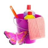 Cubeta violeta para a limpeza fotografia de stock royalty free