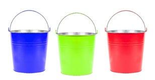 Cubetas azuis, verdes, vermelhas isoladas Foto de Stock Royalty Free