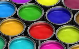 Cubetas coloridas da pintura ilustração stock
