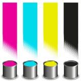 Cubetas da pintura de CMYK e listras coloridas Imagens de Stock