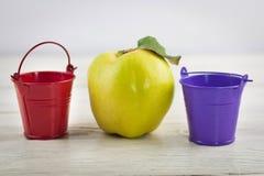 Cubetas vazias do metal vermelho e violeta com punhos e o marmelo maduro fresco inteiro na tabela de madeira marrom resistida vel foto de stock